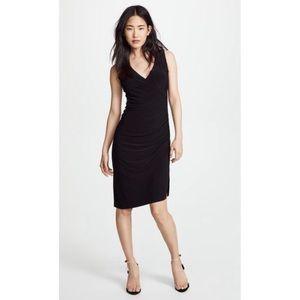 Norma Kamali black wrap midi dress